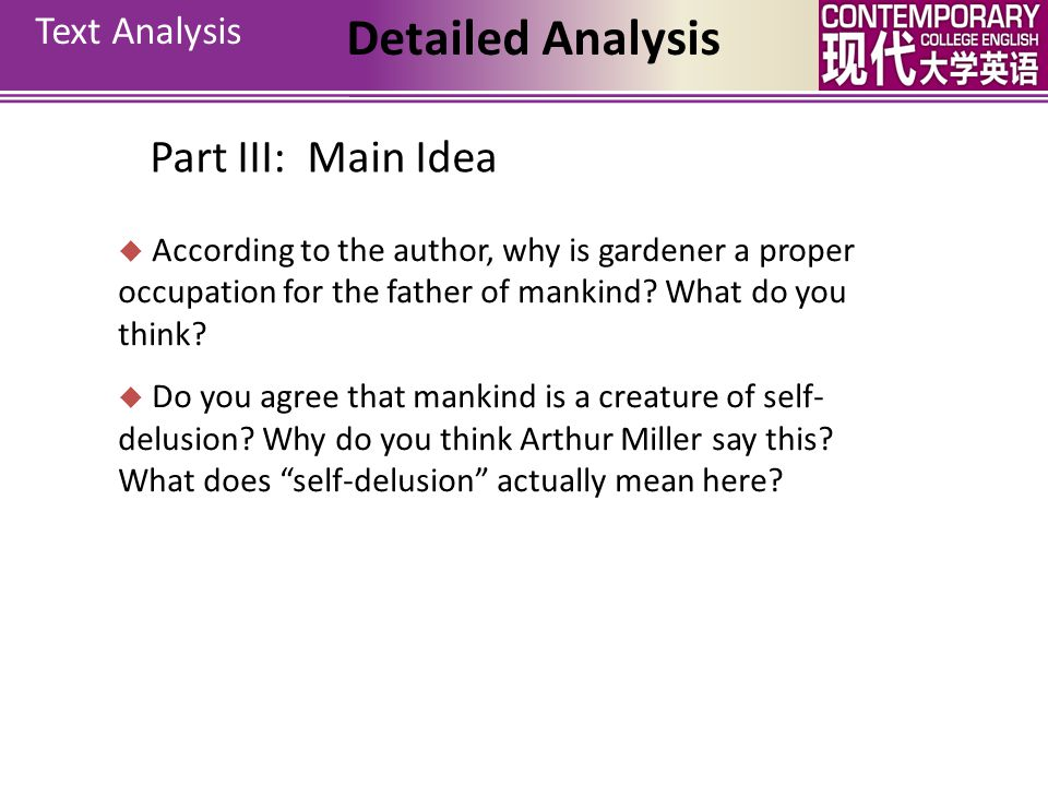 Detailed Analysis Part III: Main Idea Text Analysis