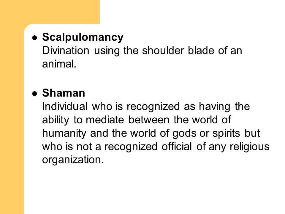 Scalpulomancy Divination using the shoulder blade of an animal.