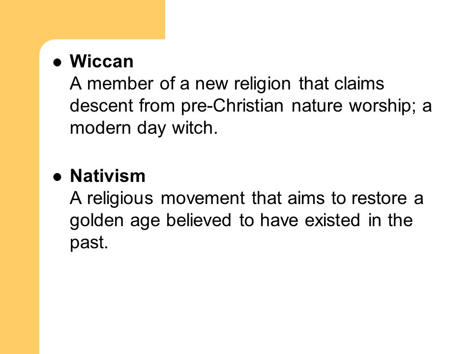 Wiccan A member of a new religion that claims descent from pre-Christian nature worship; a modern day witch.