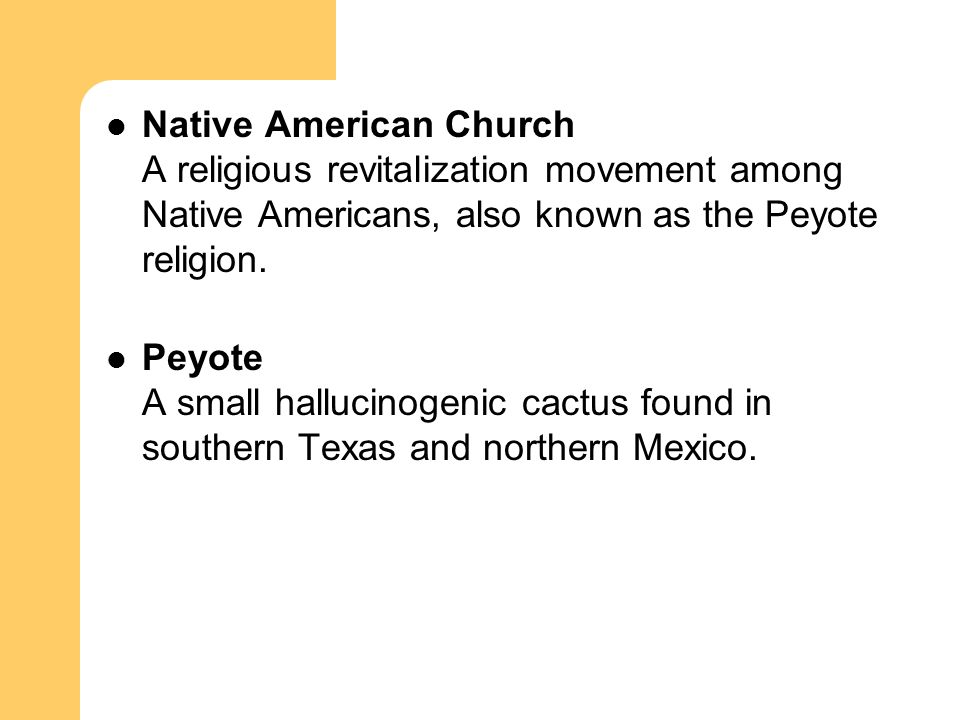 Native American Church A religious revitalization movement among Native Americans, also known as the Peyote religion.