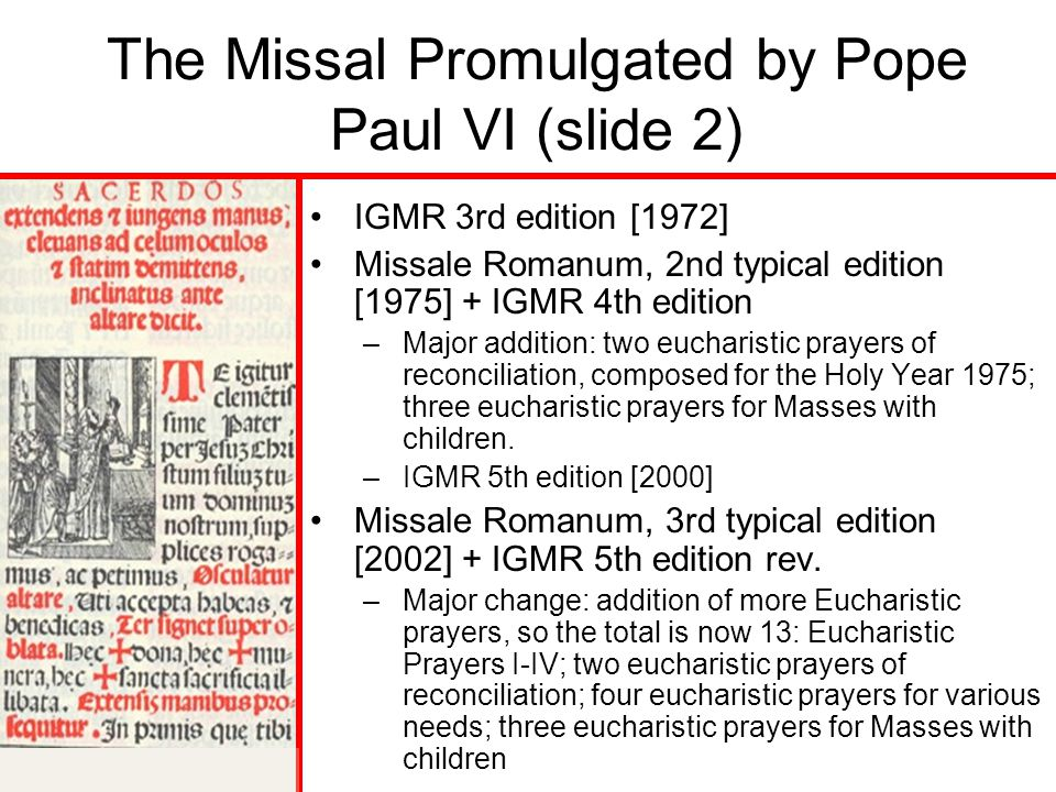 The Missal Promulgated by Pope Paul VI (slide 2)