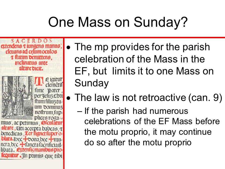 One Mass on Sunday The mp provides for the parish celebration of the Mass in the EF, but limits it to one Mass on Sunday.