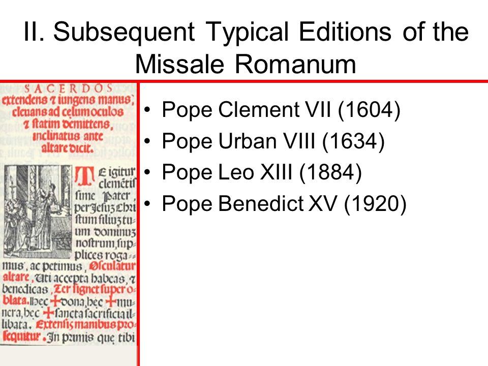 II. Subsequent Typical Editions of the Missale Romanum