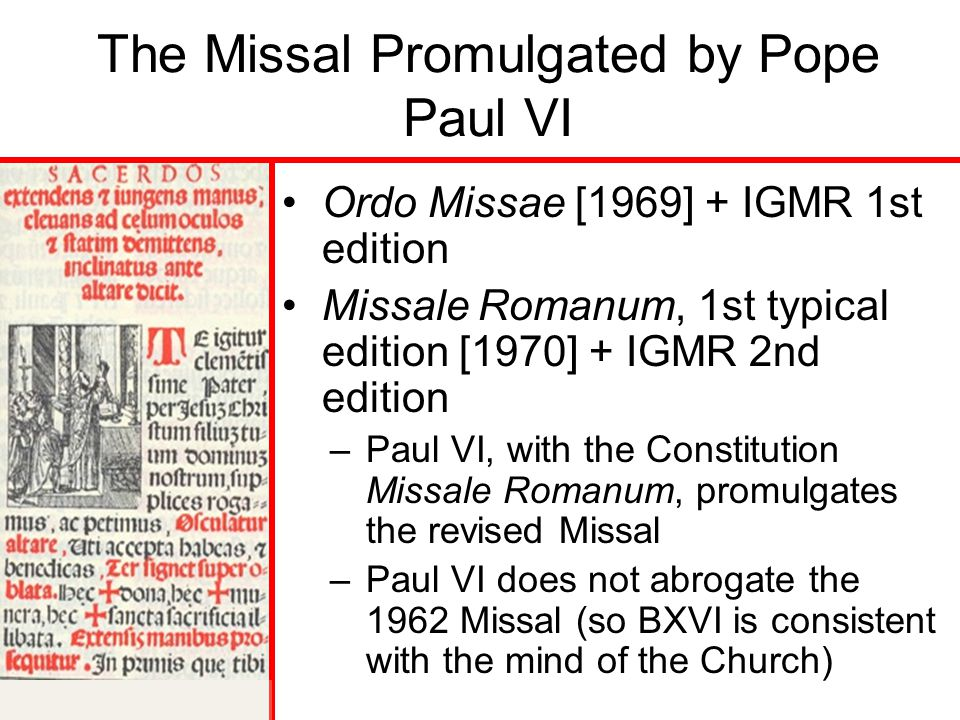 The Missal Promulgated by Pope Paul VI