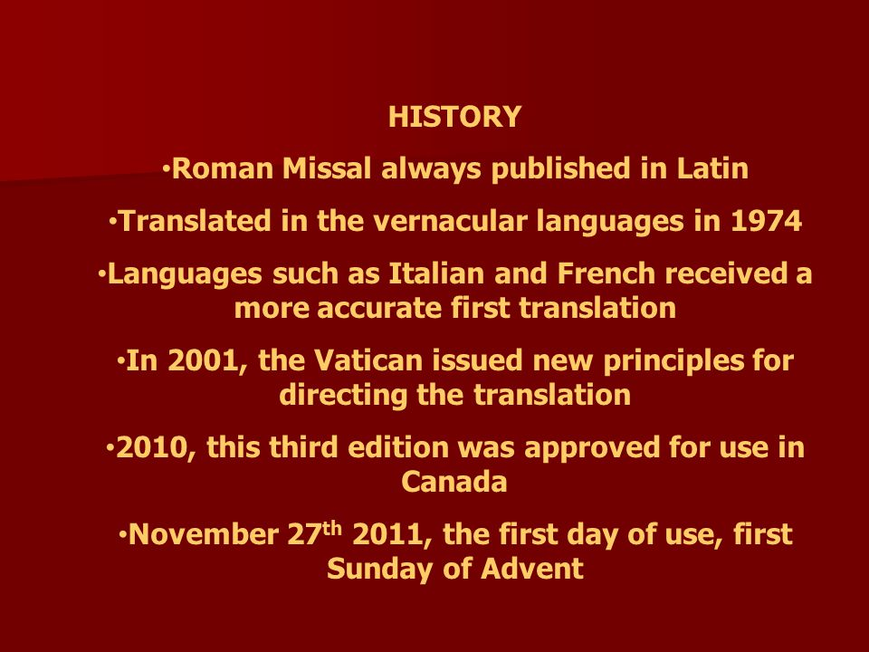 Roman Missal always published in Latin