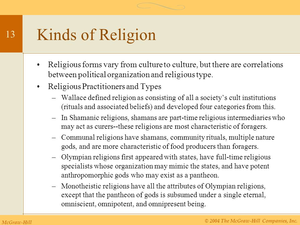 Kinds of Religion Religious forms vary from culture to culture, but there are correlations between political organization and religious type.