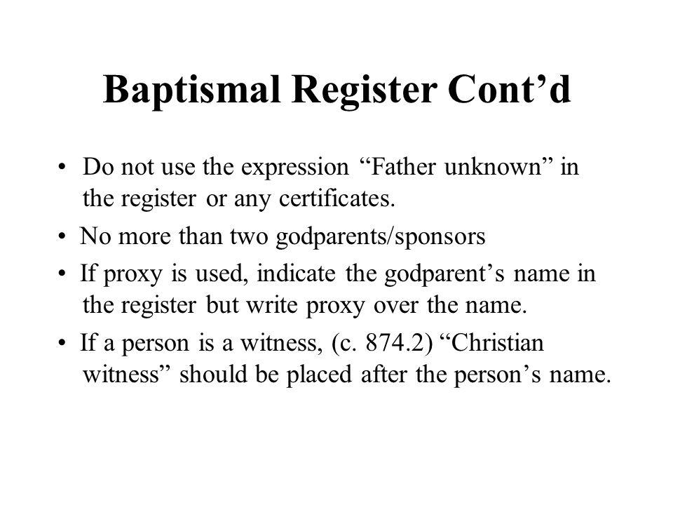 Baptismal Register Cont'd