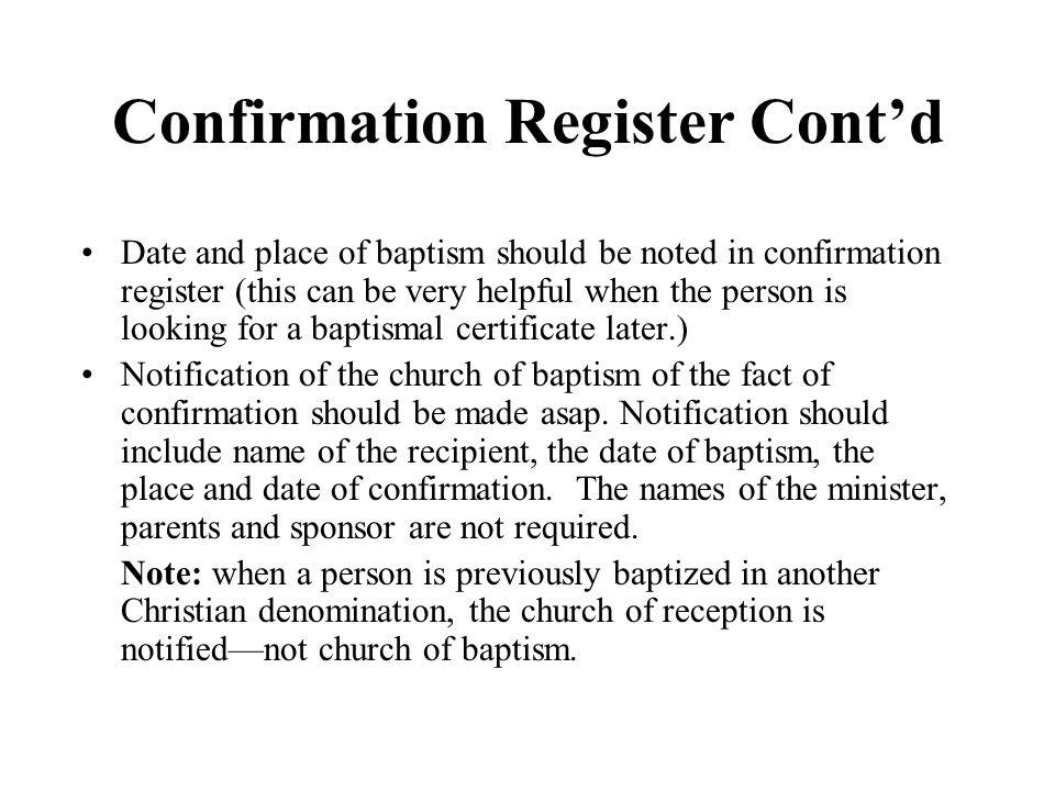 Confirmation Register Cont'd