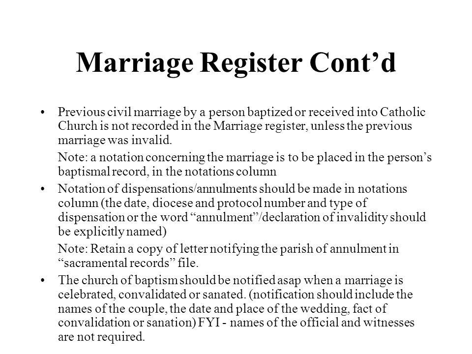 Marriage Register Cont'd