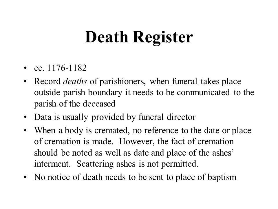 Death Register cc. 1176-1182.