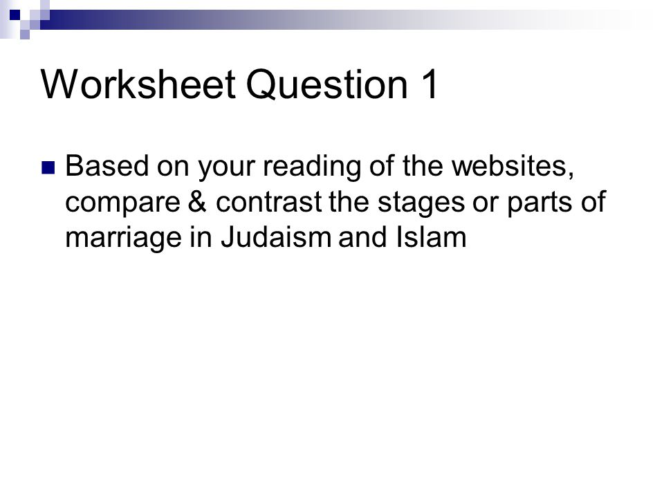 Worksheet Question 1 Based on your reading of the websites, compare & contrast the stages or parts of marriage in Judaism and Islam.
