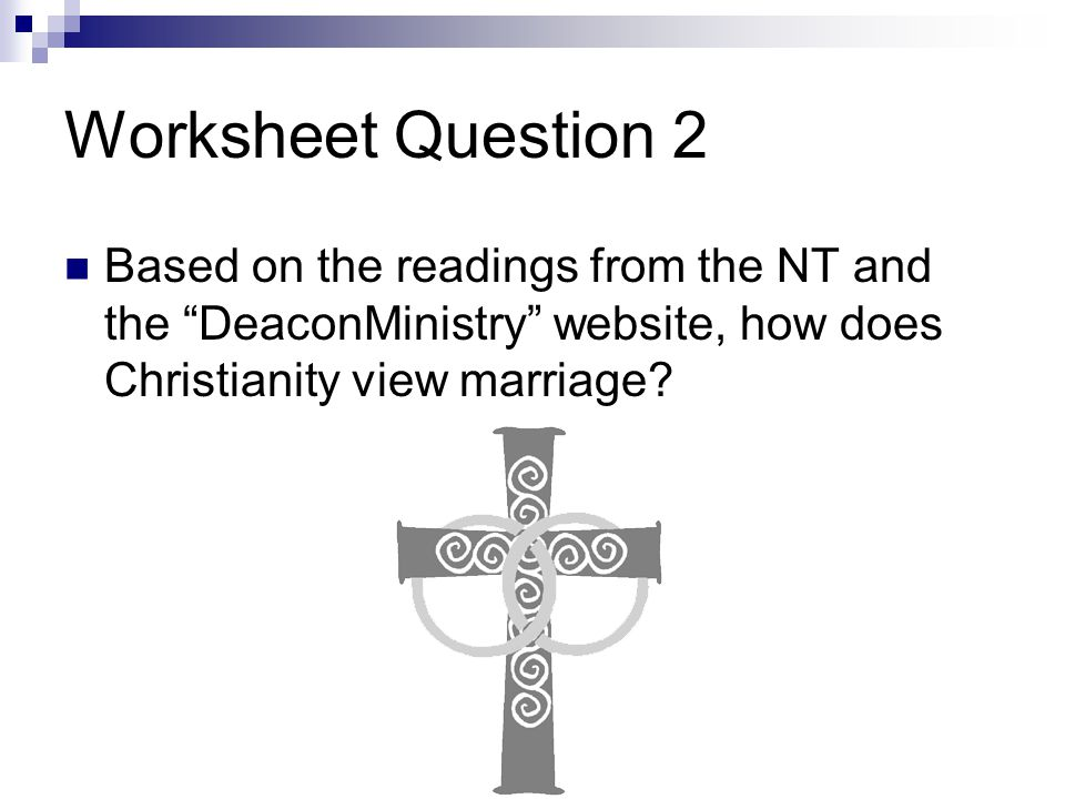 Worksheet Question 2 Based on the readings from the NT and the DeaconMinistry website, how does Christianity view marriage
