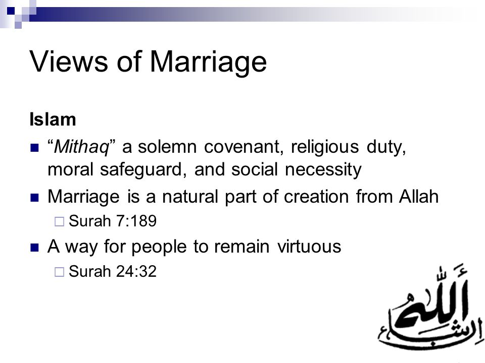 Views of Marriage Islam