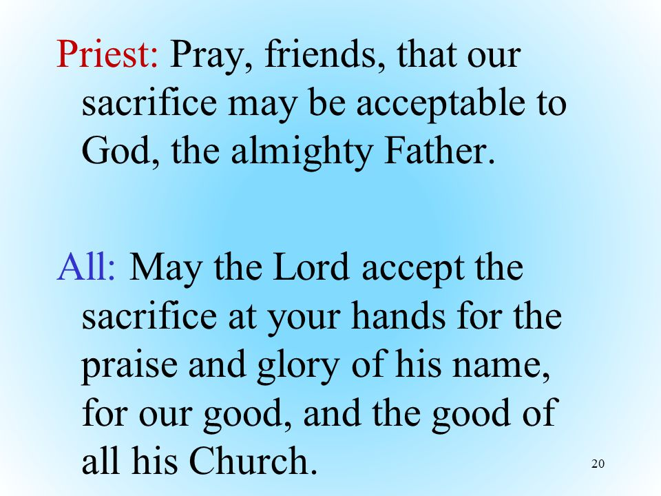 Priest: Pray, friends, that our sacrifice may be acceptable to God, the almighty Father.