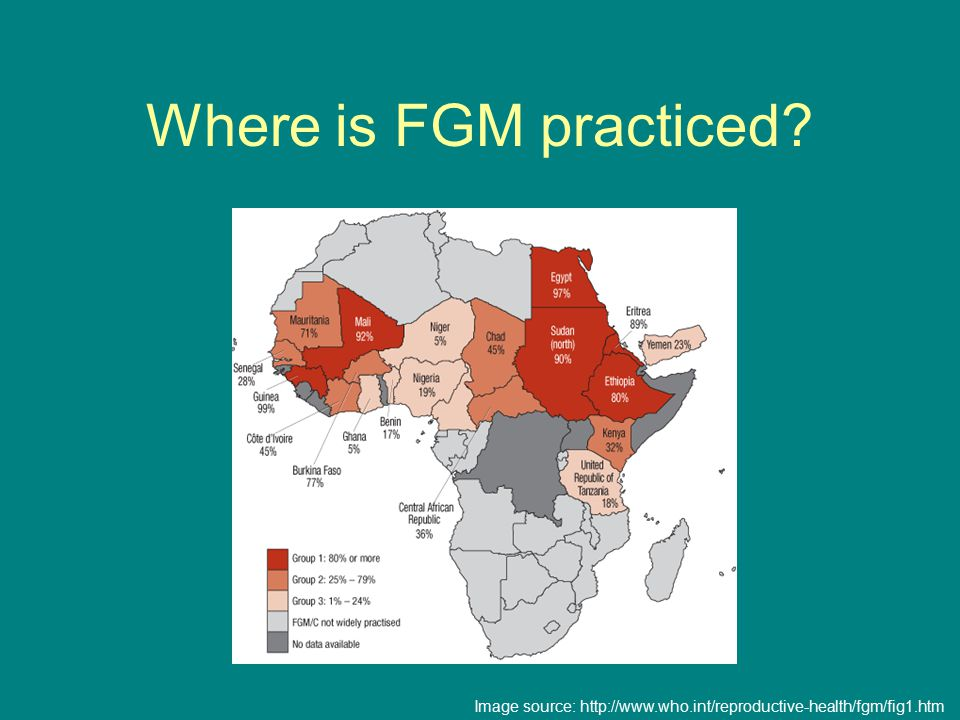 Where is FGM practiced Image source: http://www.who.int/reproductive-health/fgm/fig1.htm