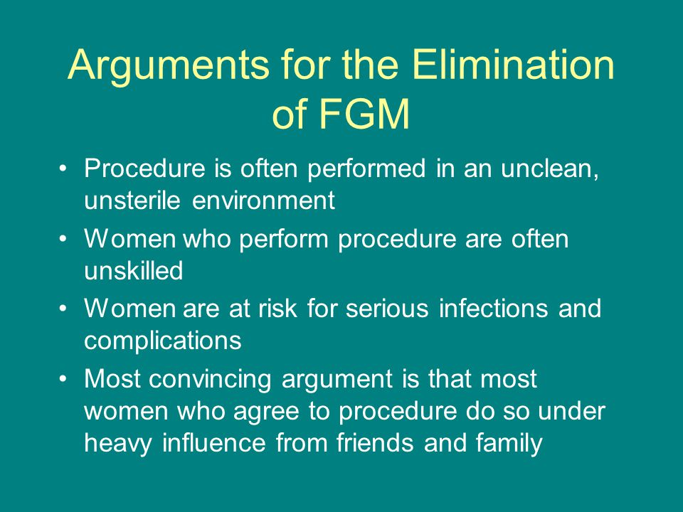 Arguments for the Elimination of FGM