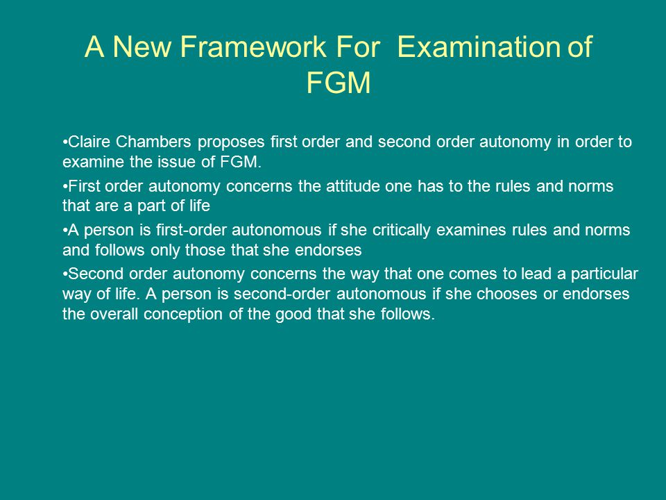 A New Framework For Examination of FGM