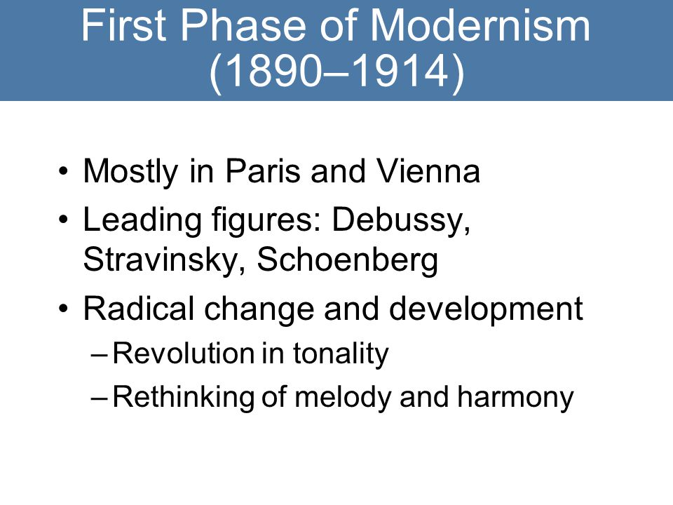 First Phase of Modernism (1890–1914)