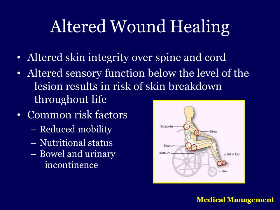 Altered Wound Healing Altered skin integrity over spine and cord
