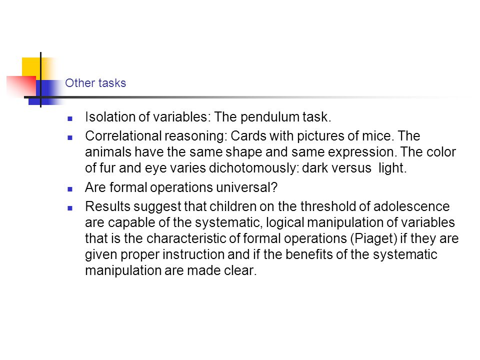 Isolation of variables: The pendulum task.