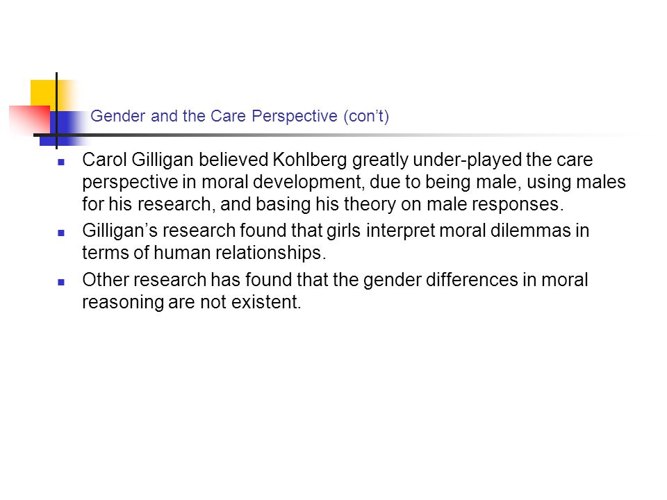 Gender and the Care Perspective (con't)