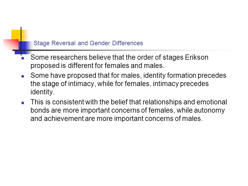 Stage Reversal and Gender Differences