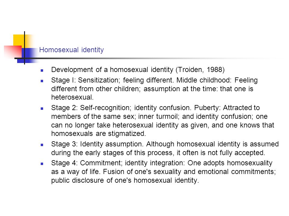 Homosexual identity Development of a homosexual identity (Troiden, 1988)