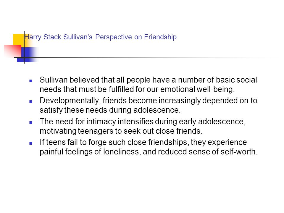 Harry Stack Sullivan's Perspective on Friendship