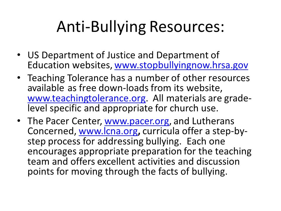 Anti-Bullying Resources: