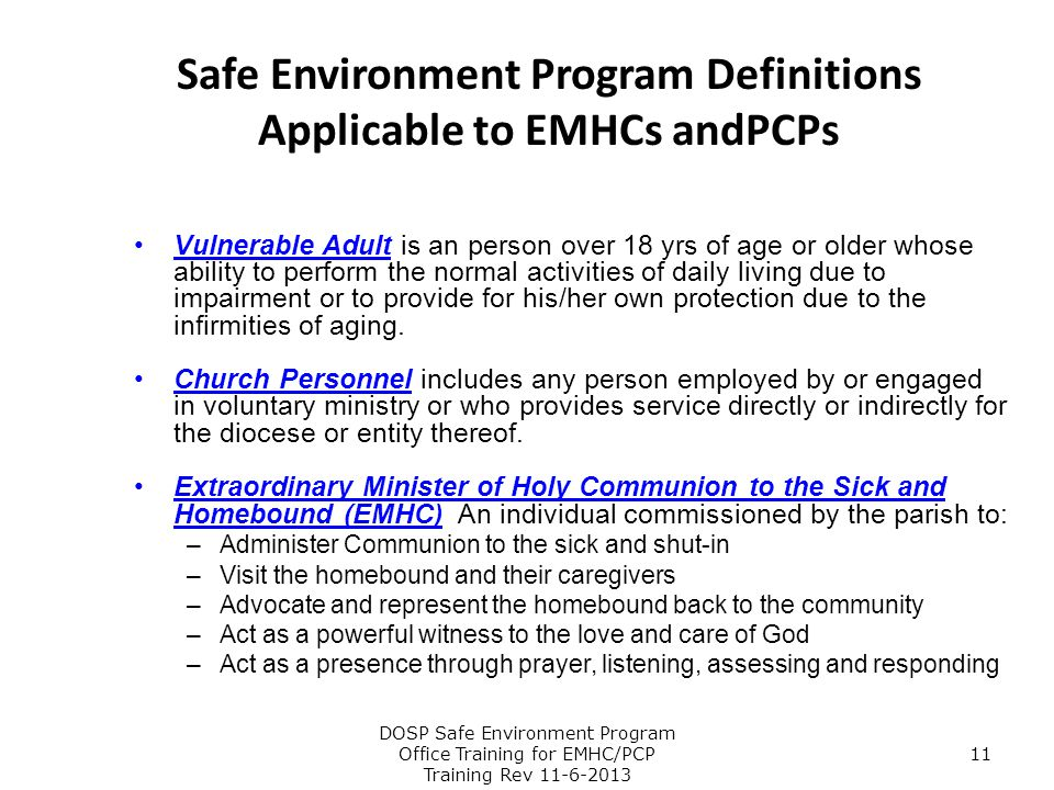 Safe Environment Program Definitions Applicable to EMHCs andPCPs