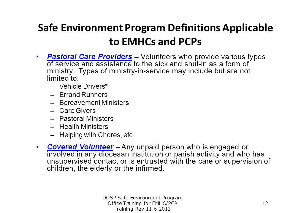 Safe Environment Program Definitions Applicable to EMHCs and PCPs
