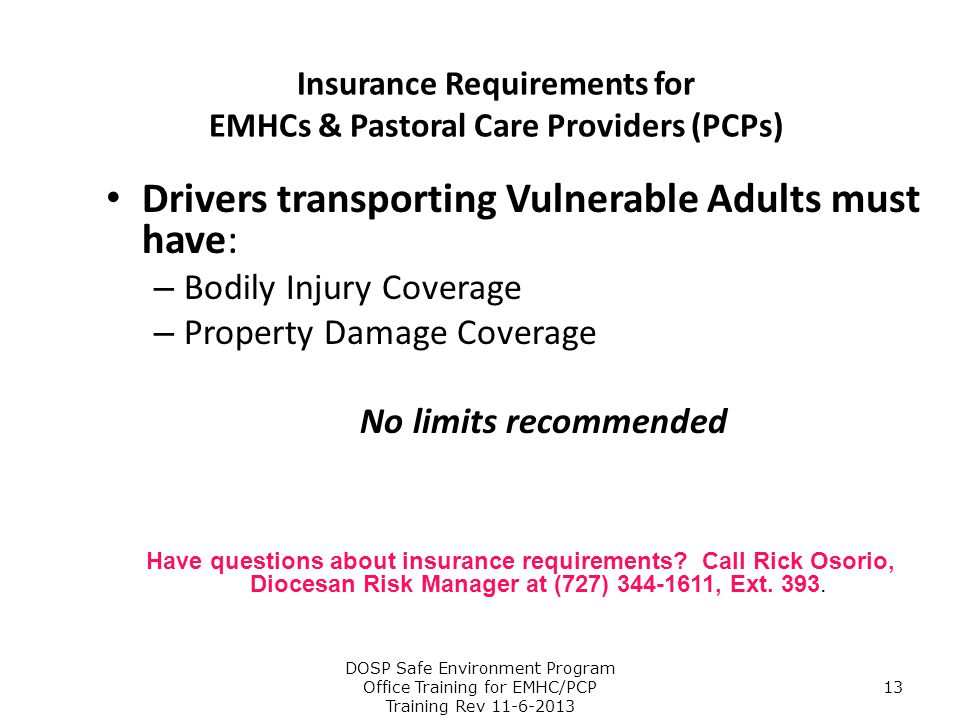 Insurance Requirements for EMHCs & Pastoral Care Providers (PCPs)
