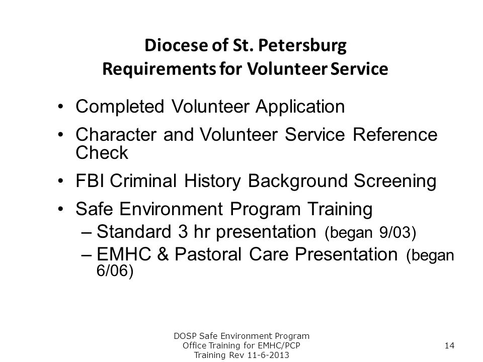 Diocese of St. Petersburg Requirements for Volunteer Service