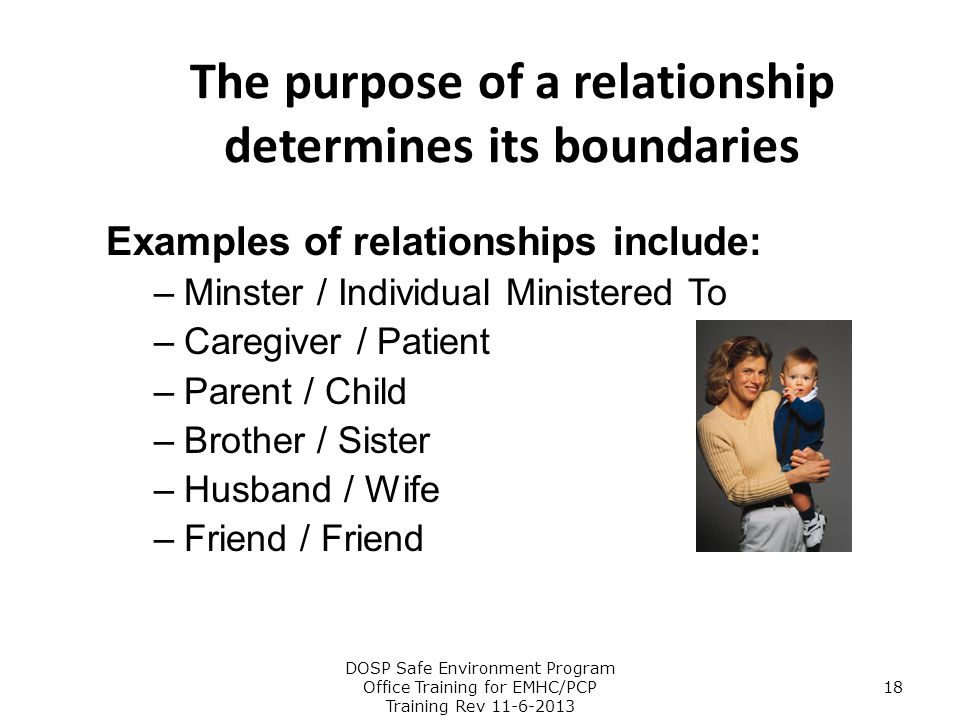 The purpose of a relationship determines its boundaries