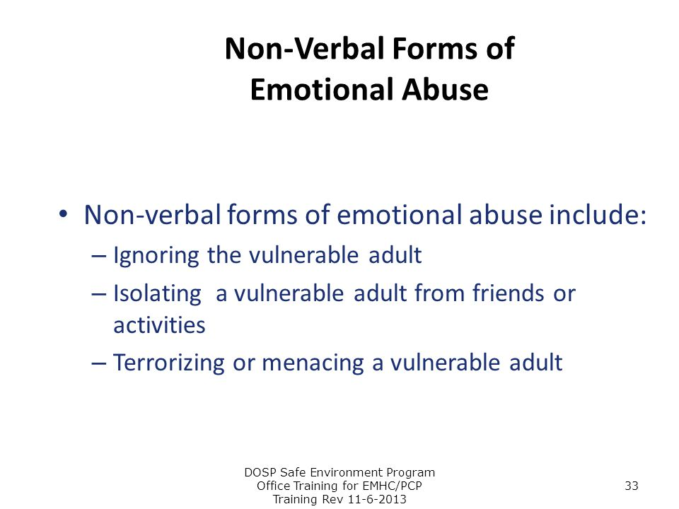 Non-Verbal Forms of Emotional Abuse
