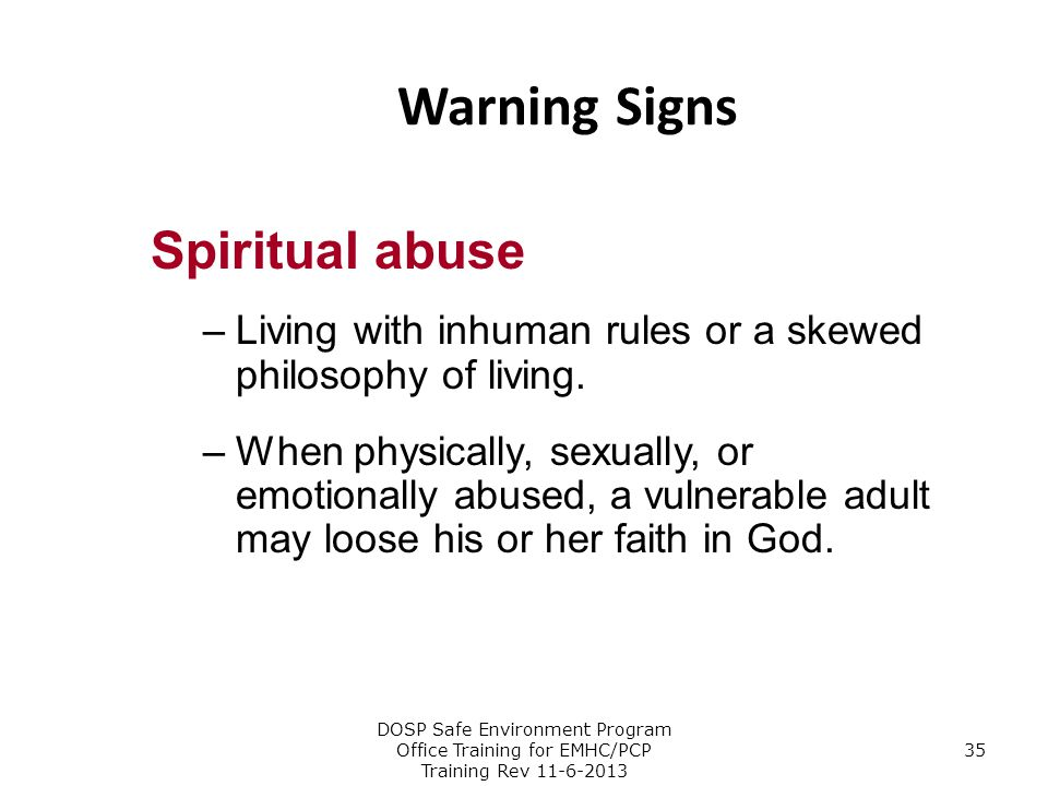 Warning Signs Spiritual abuse
