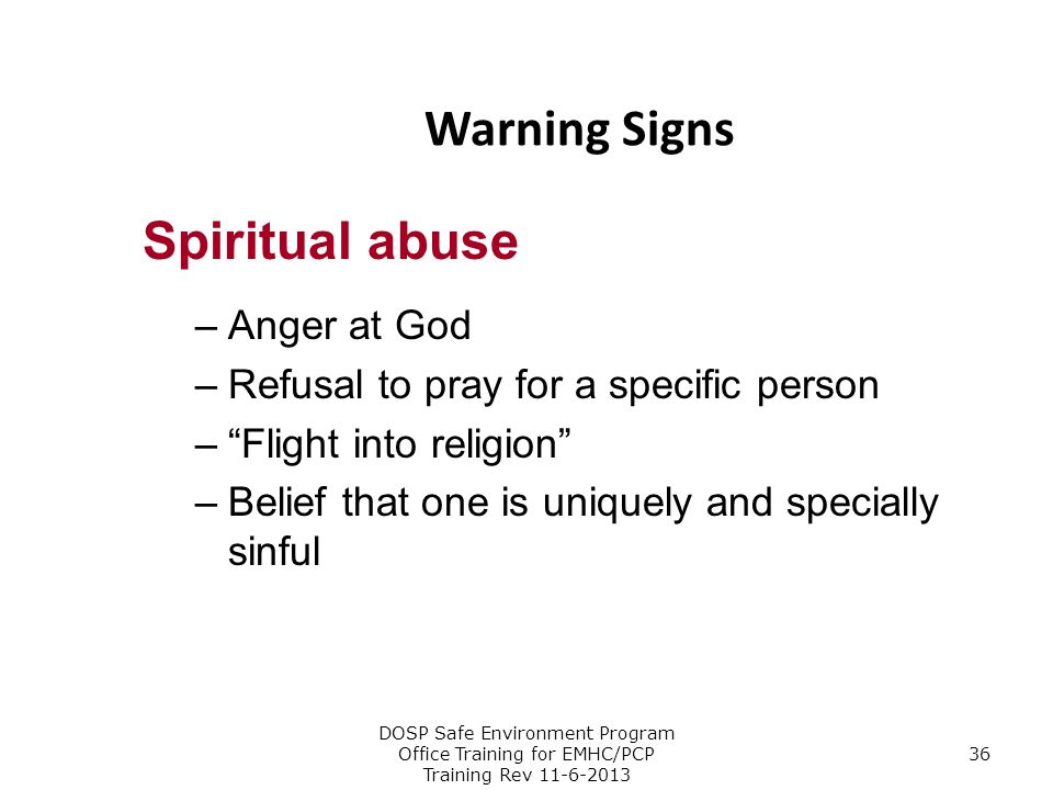 Warning Signs Spiritual abuse Anger at God
