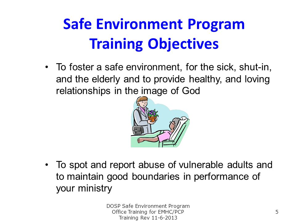 Safe Environment Program Training Objectives
