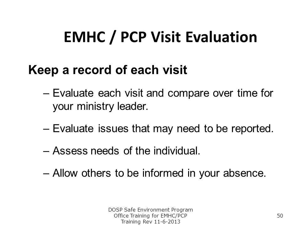 EMHC / PCP Visit Evaluation