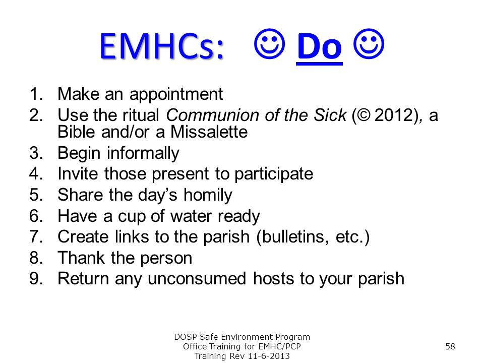 EMHCs:  Do  Make an appointment