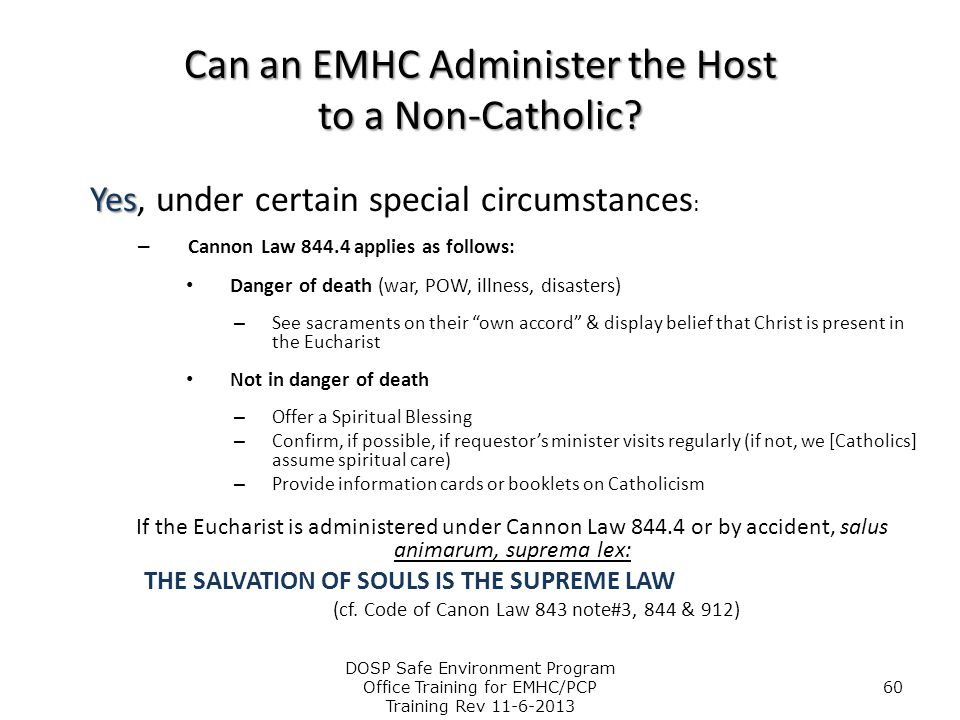 Can an EMHC Administer the Host to a Non-Catholic