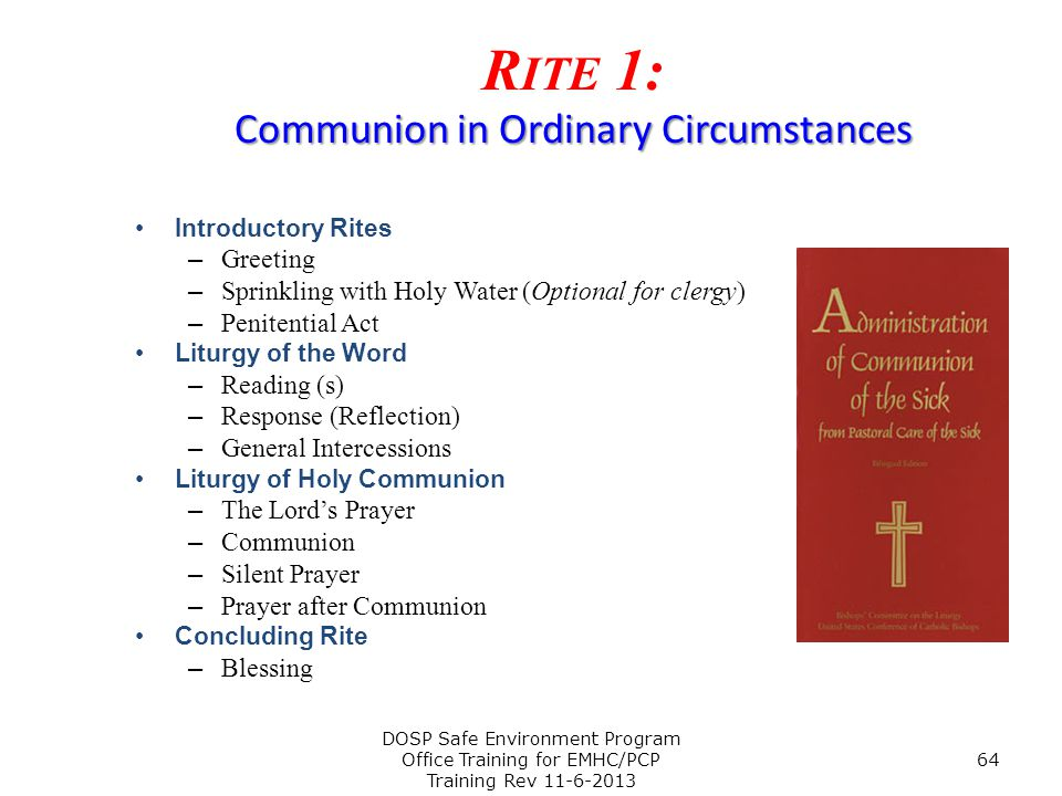 Rite 1: Communion in Ordinary Circumstances