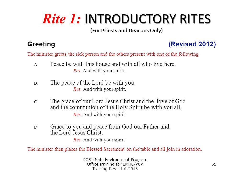 Rite 1: INTRODUCTORY RITES (For Priests and Deacons Only)