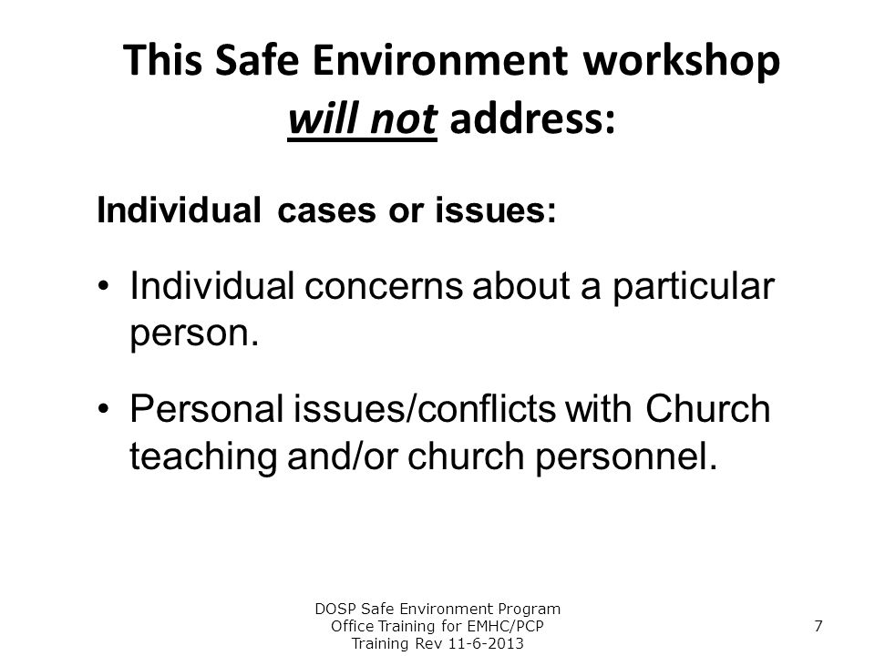 This Safe Environment workshop will not address: