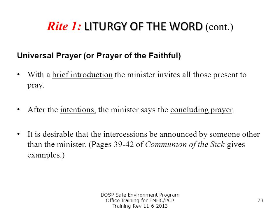 Rite 1: LITURGY OF THE WORD (cont.)