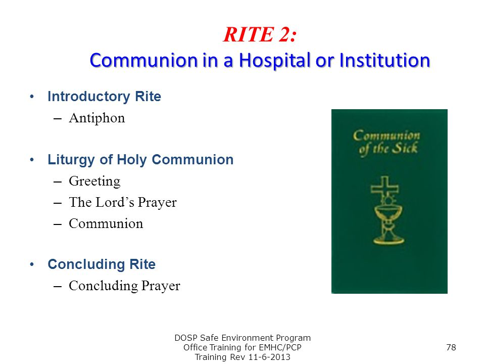 Rite 2: Communion in a Hospital or Institution