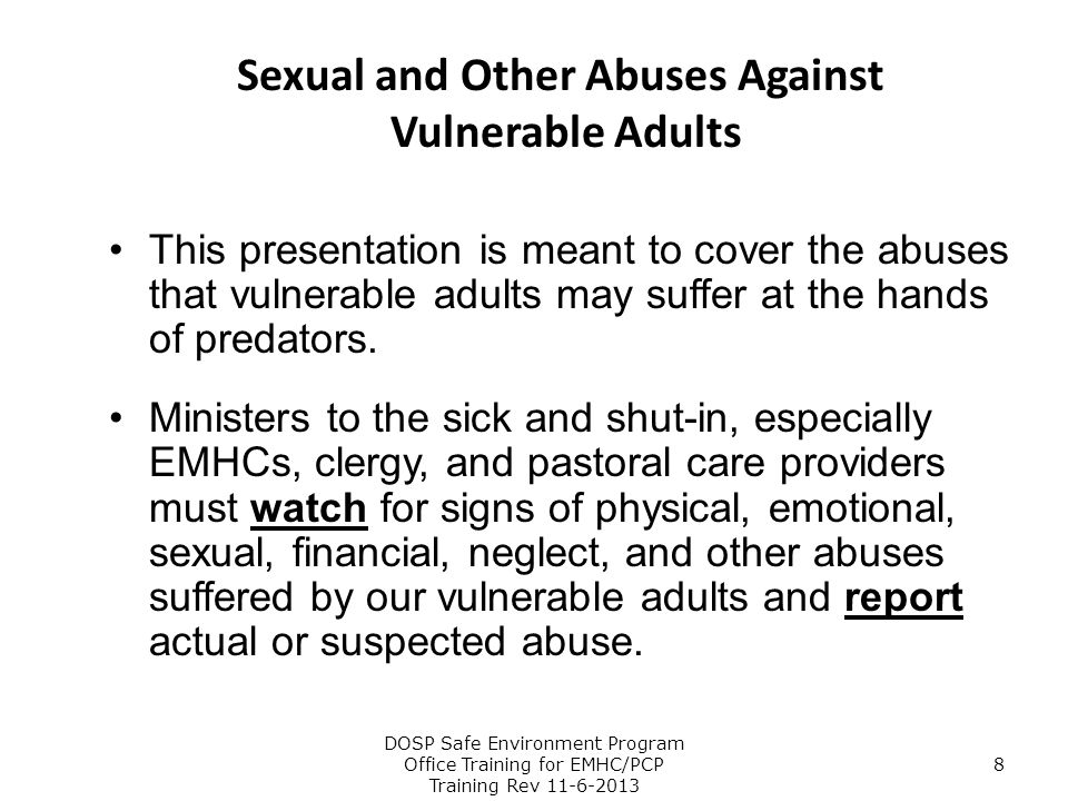 Sexual and Other Abuses Against Vulnerable Adults