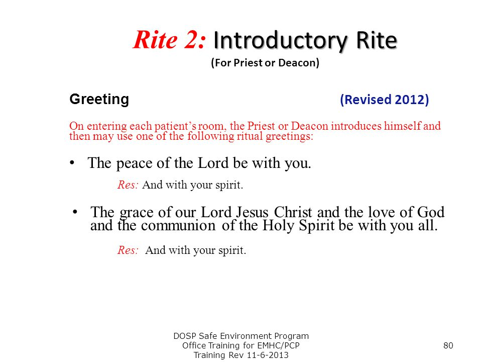 Rite 2: Introductory Rite (For Priest or Deacon)