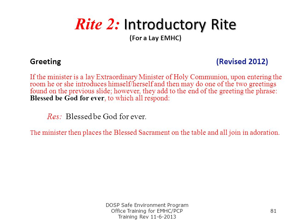 Rite 2: Introductory Rite (For a Lay EMHC)