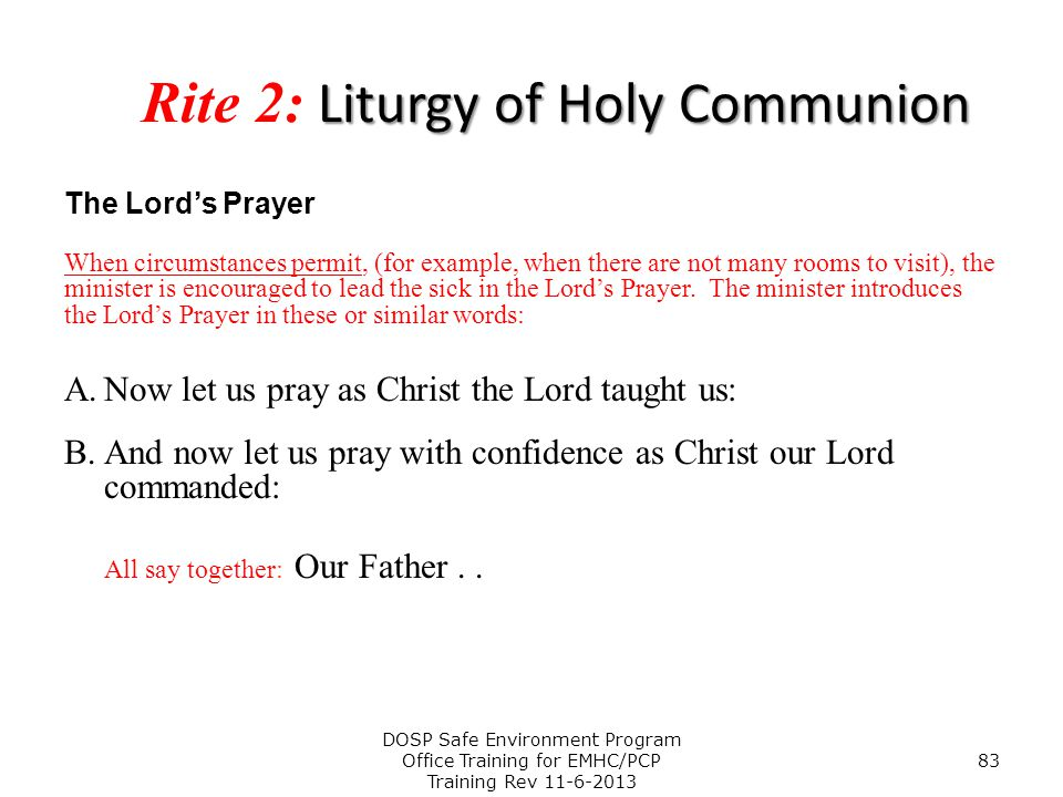 Rite 2: Liturgy of Holy Communion